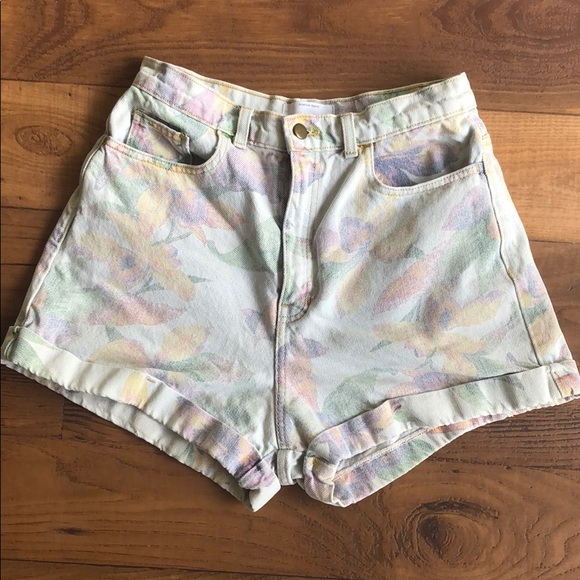 American Apparel Pants - American Apparel Floral Print High-waisted Jeans